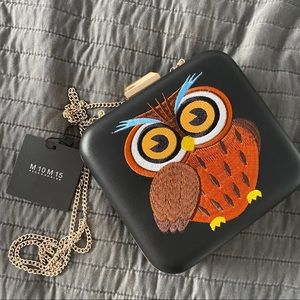 Owl Black Pleather with gold accents purse